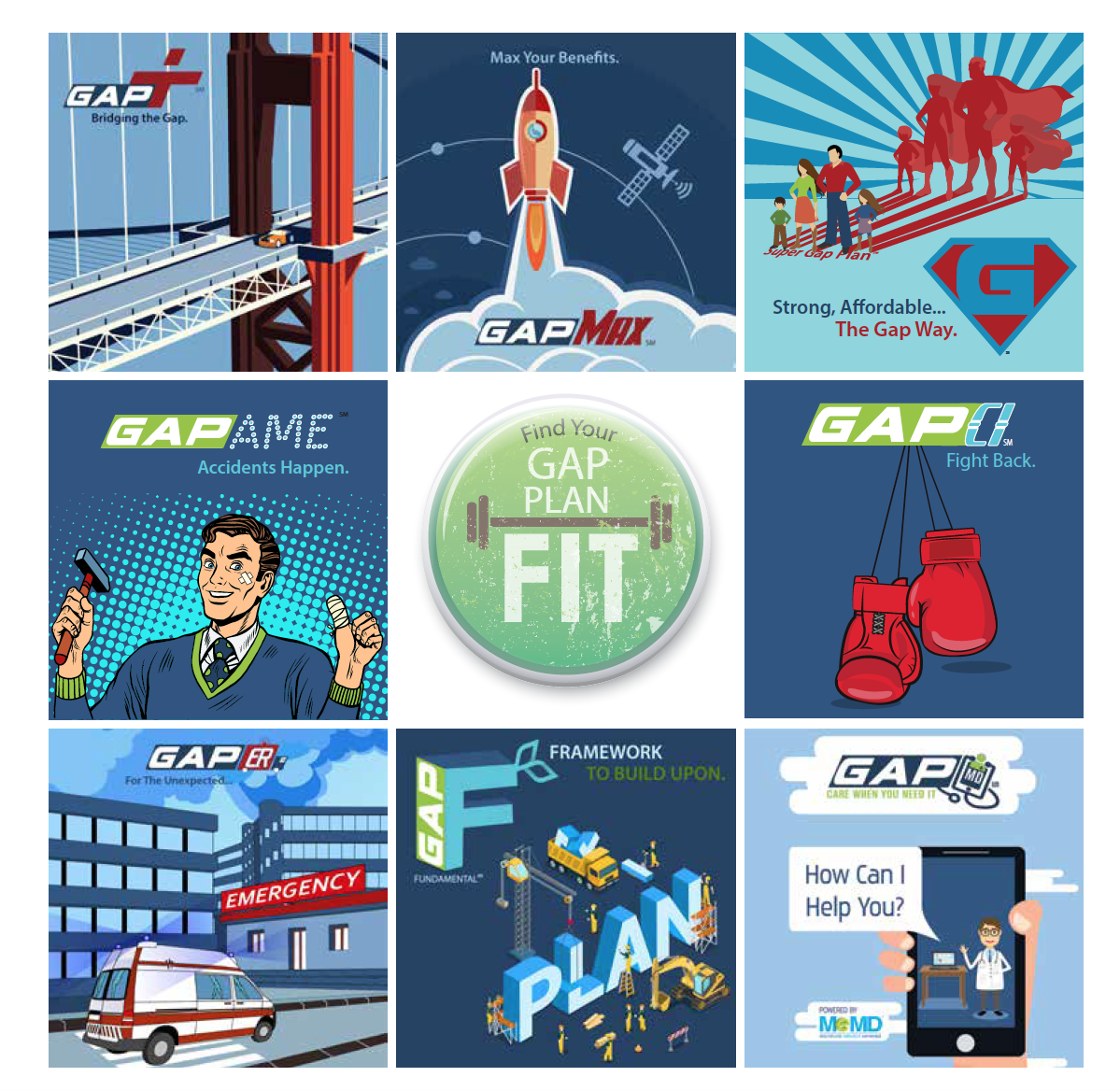 Find Your Gap Fit - this image shows you the plan options available with GAP